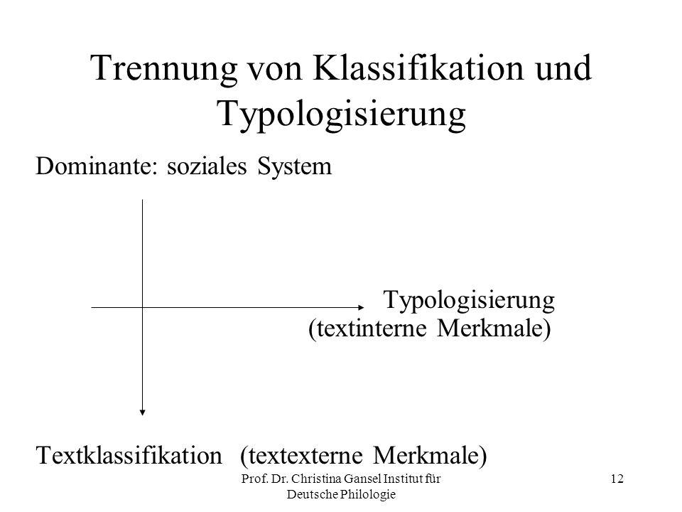 Trennung von Klassifikation und Typologisierung