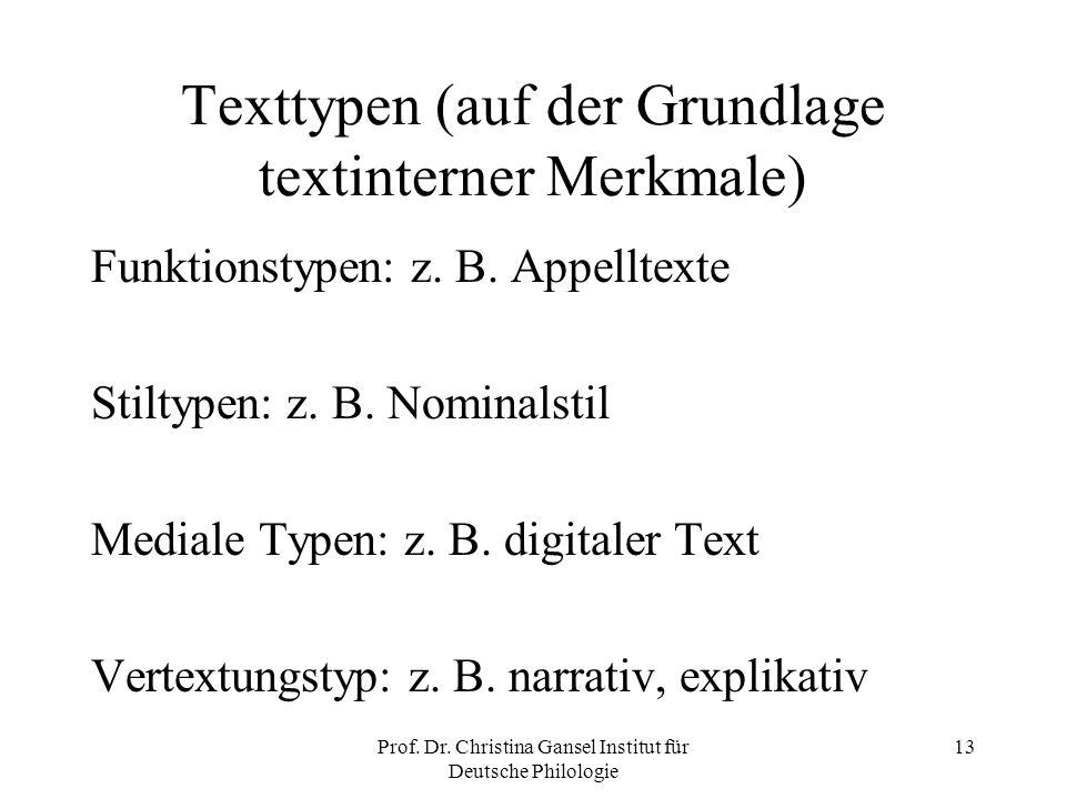 Texttypen (auf der Grundlage textinterner Merkmale)