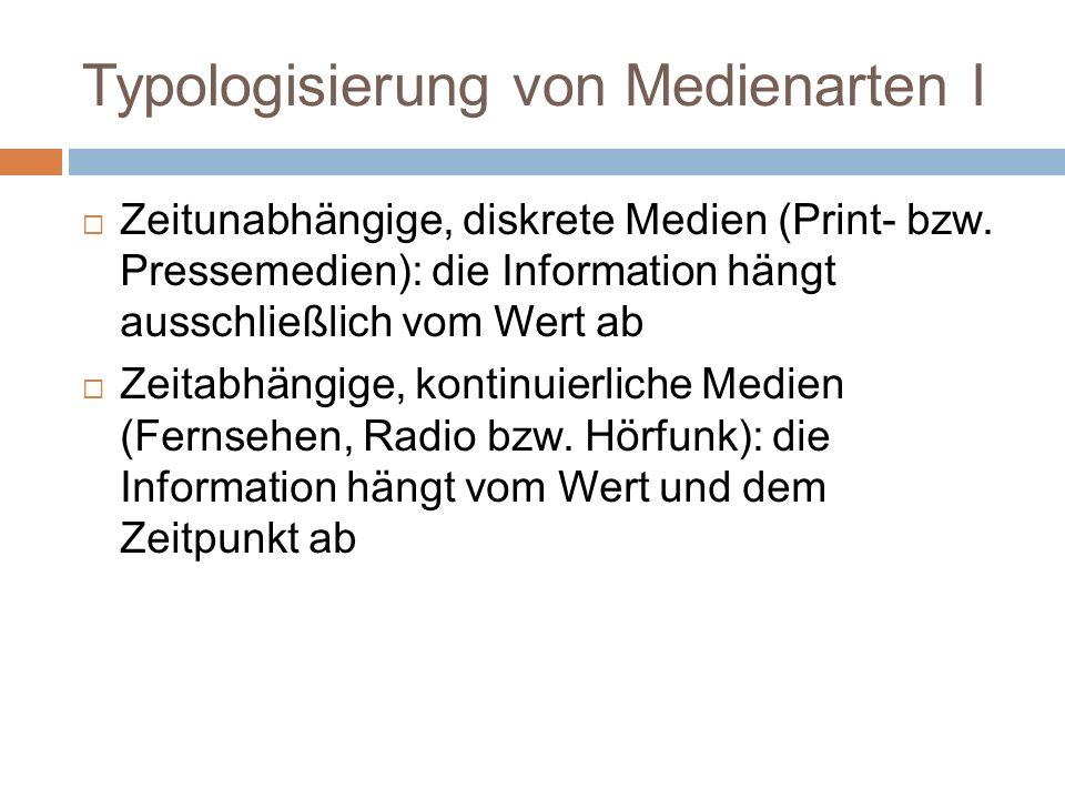 Typologisierung von Medienarten I