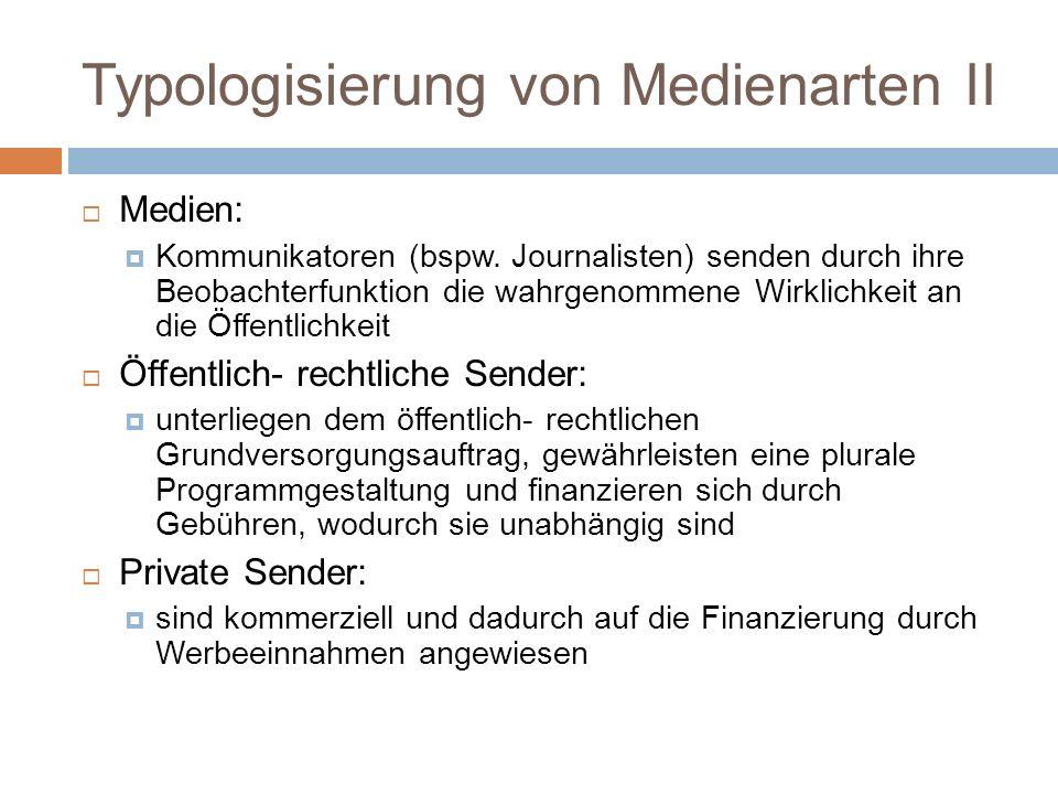 Typologisierung von Medienarten II