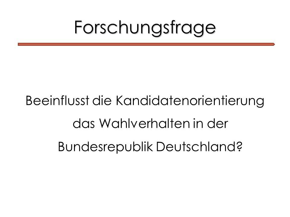 Forschungsfrage Beeinflusst die Kandidatenorientierung das Wahlverhalten in der Bundesrepublik Deutschland