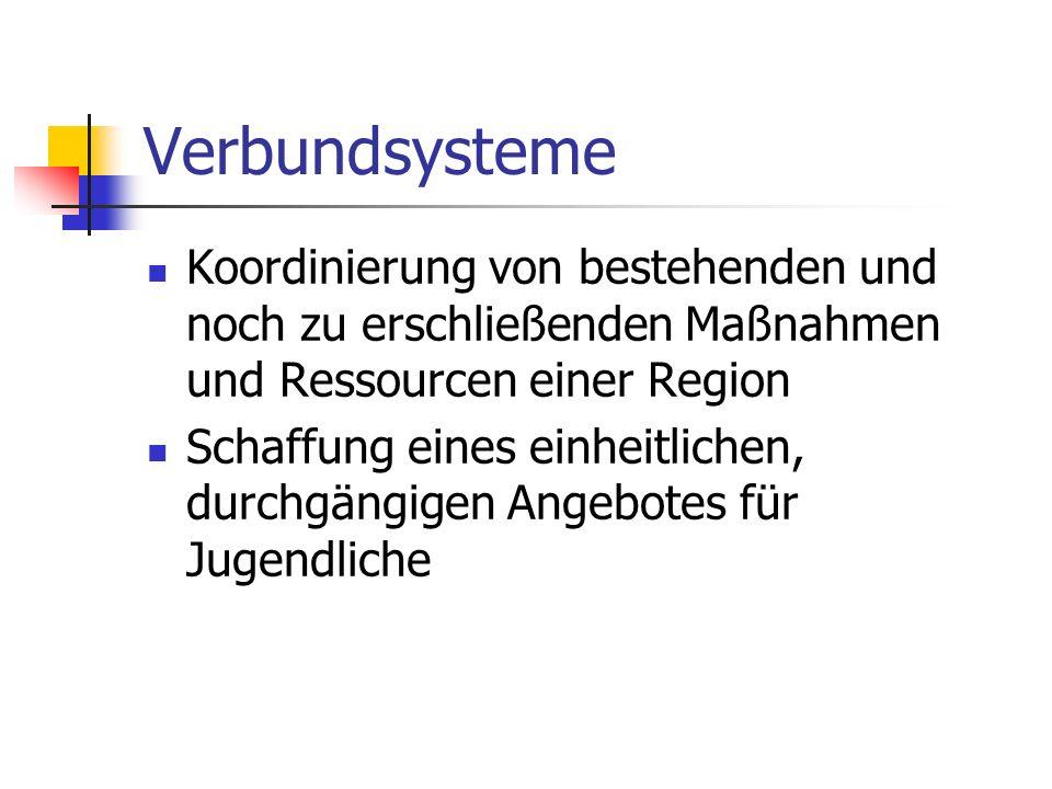 Verbundsysteme Koordinierung von bestehenden und noch zu erschließenden Maßnahmen und Ressourcen einer Region.