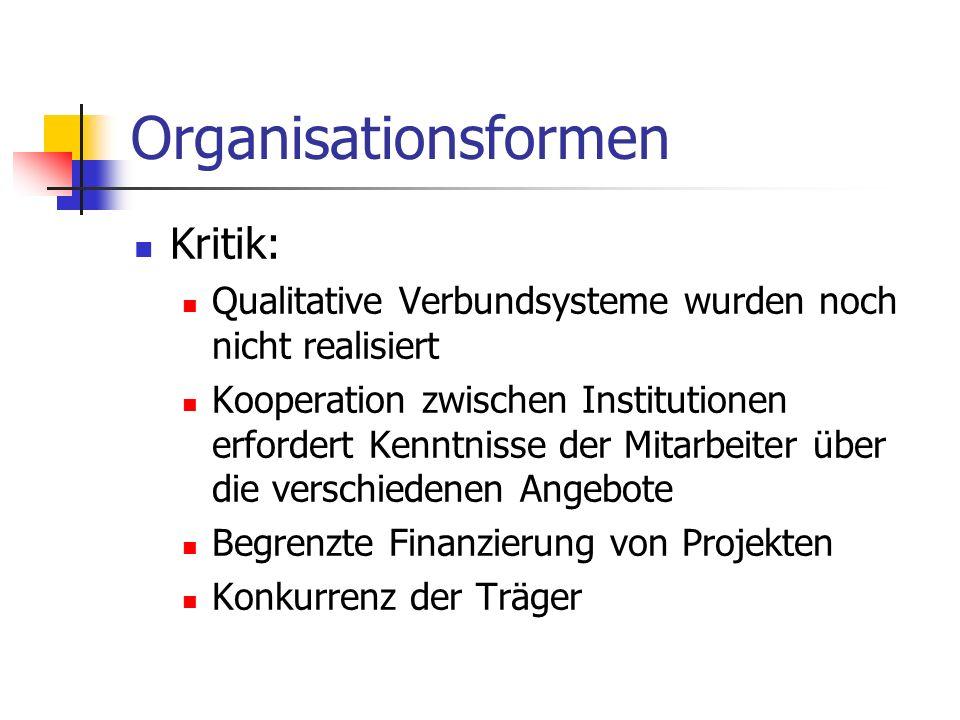 Organisationsformen Kritik: