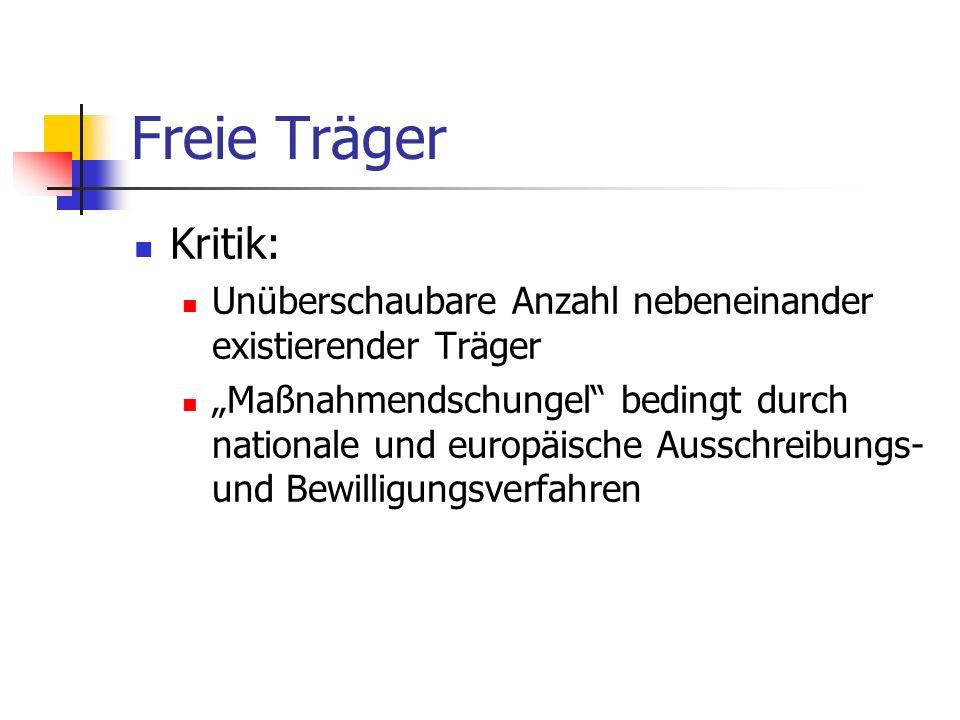Freie Träger Kritik: Unüberschaubare Anzahl nebeneinander existierender Träger.