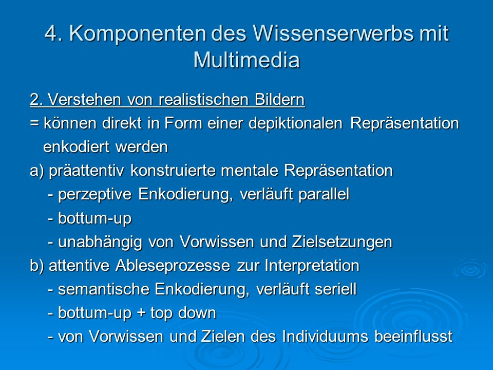 4. Komponenten des Wissenserwerbs mit Multimedia