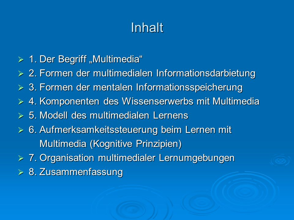 """Inhalt 1. Der Begriff """"Multimedia"""