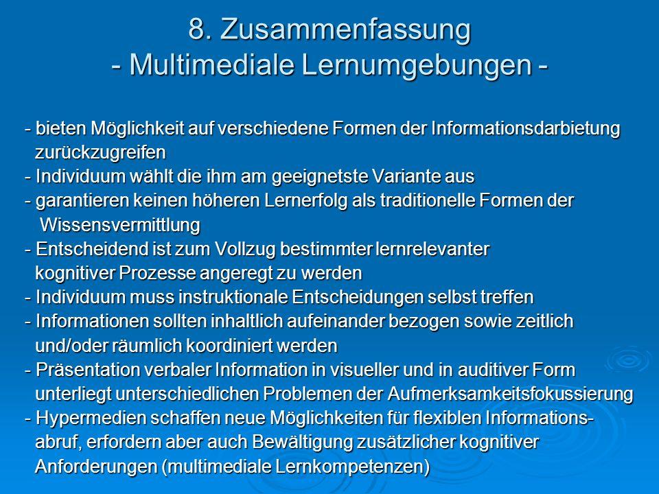 8. Zusammenfassung - Multimediale Lernumgebungen -