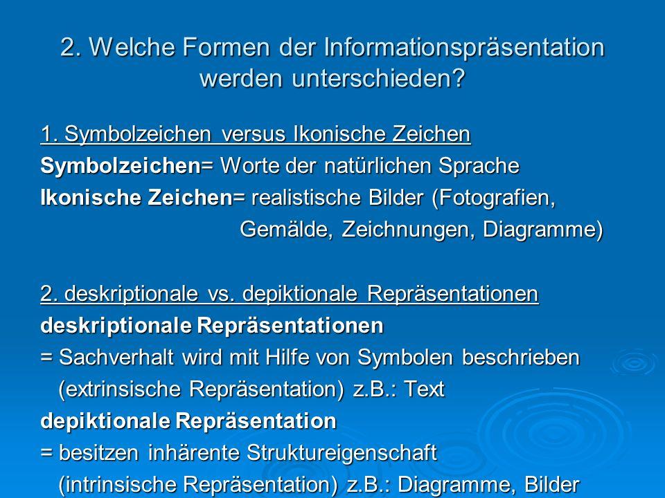2. Welche Formen der Informationspräsentation werden unterschieden