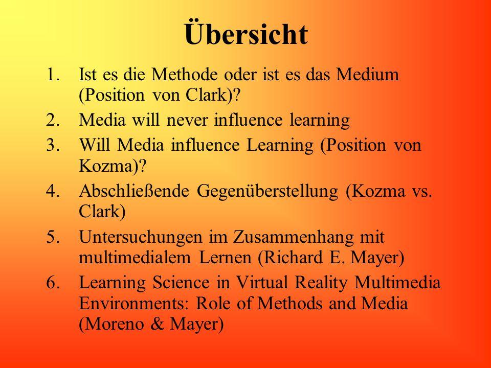 Übersicht Ist es die Methode oder ist es das Medium (Position von Clark) Media will never influence learning.