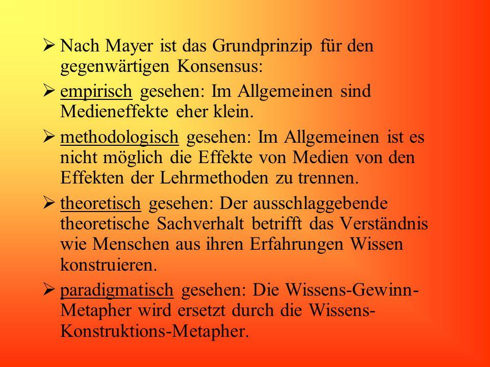 Nach Mayer ist das Grundprinzip für den gegenwärtigen Konsensus: