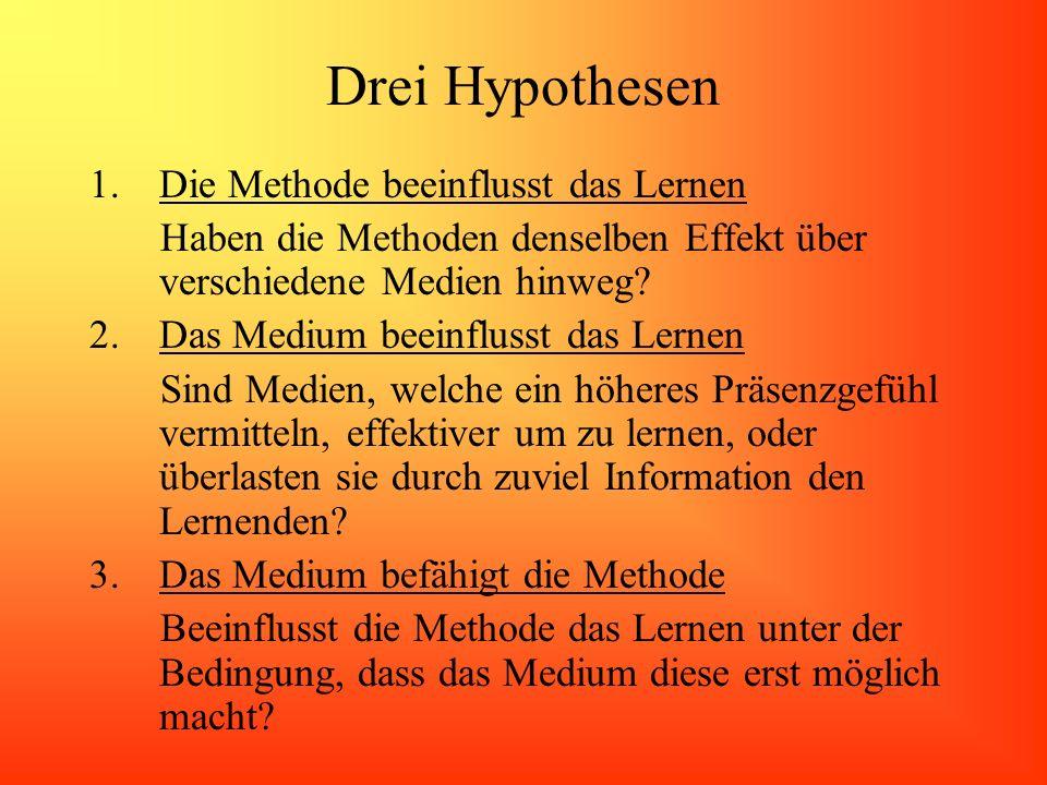 Drei Hypothesen Die Methode beeinflusst das Lernen