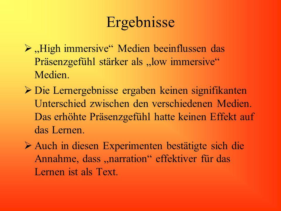 """Ergebnisse """"High immersive Medien beeinflussen das Präsenzgefühl stärker als """"low immersive Medien."""