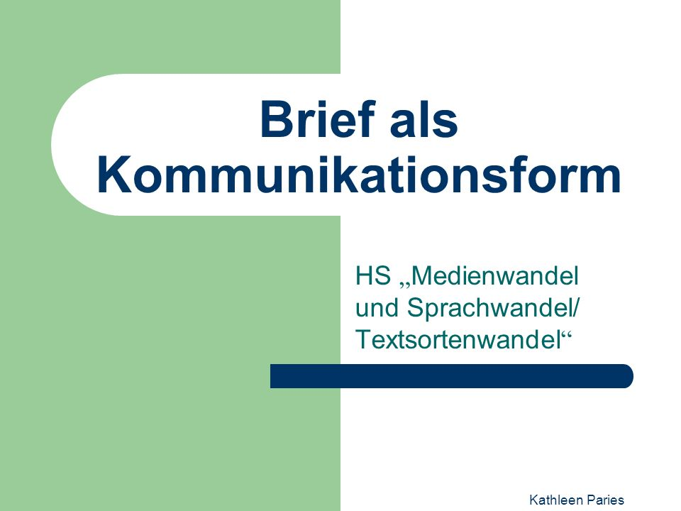 Brief als Kommunikationsform