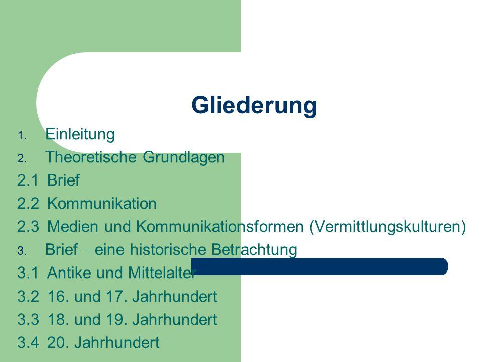 Gliederung Einleitung Theoretische Grundlagen 2.1 Brief