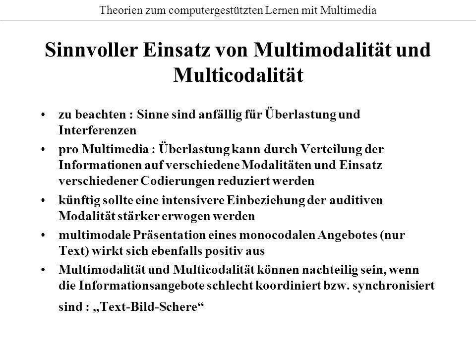 Sinnvoller Einsatz von Multimodalität und Multicodalität