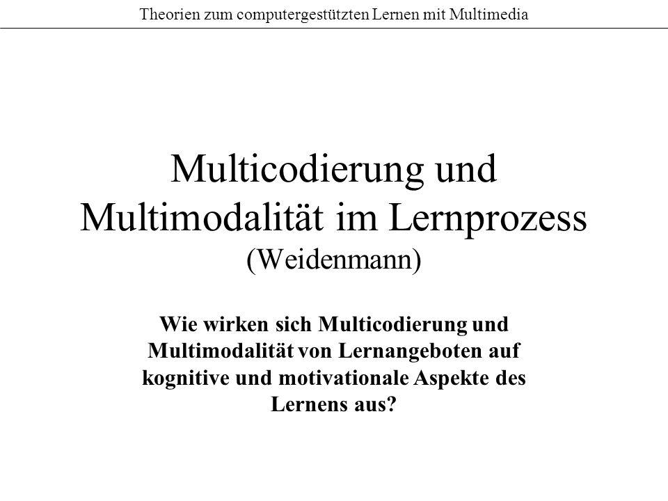 Multicodierung und Multimodalität im Lernprozess (Weidenmann)