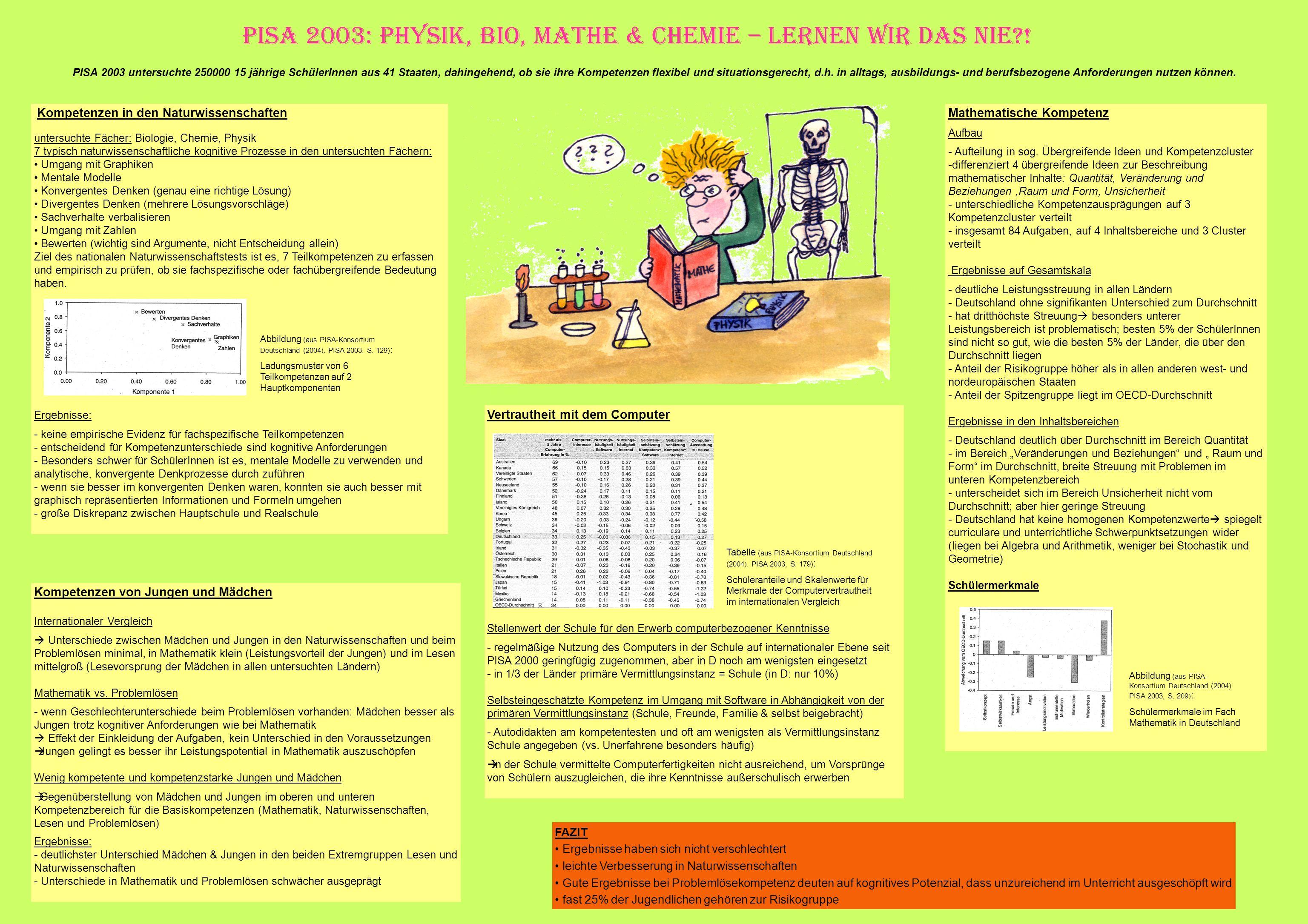 PISA 2003: Physik, Bio, Mathe & Chemie – Lernen wir das nie !