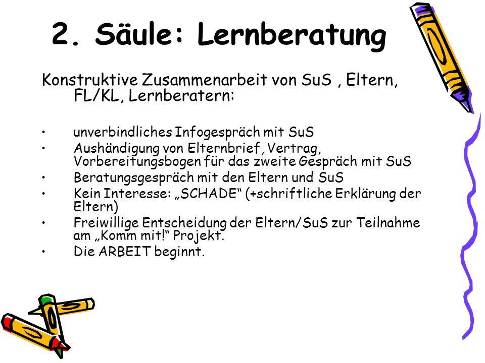 2. Säule: Lernberatung Konstruktive Zusammenarbeit von SuS , Eltern, FL/KL, Lernberatern: unverbindliches Infogespräch mit SuS.