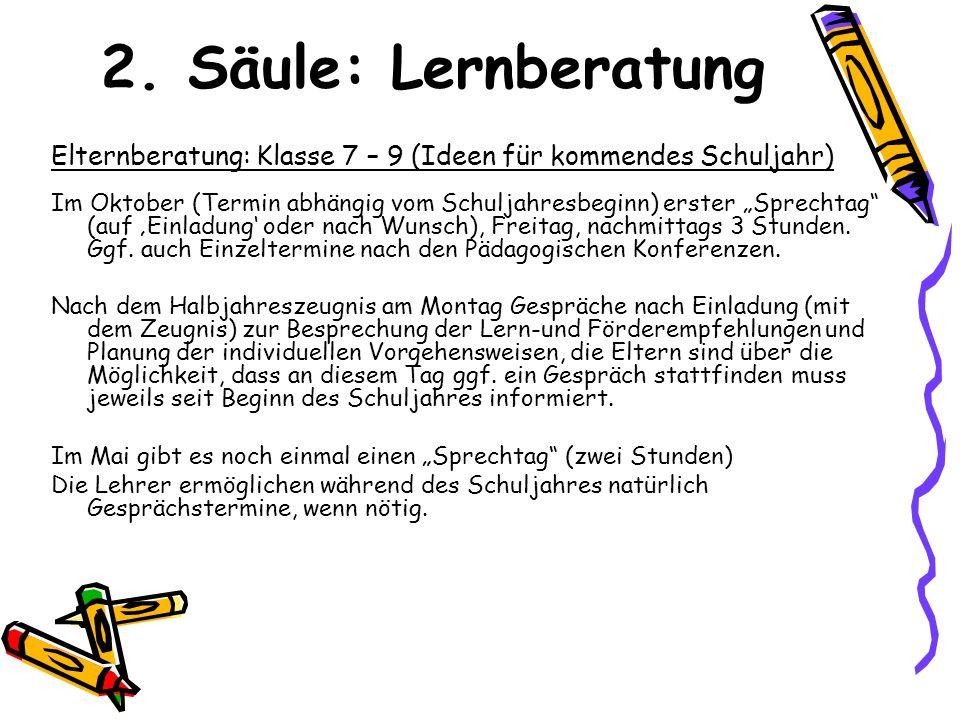 2. Säule: Lernberatung Elternberatung: Klasse 7 – 9 (Ideen für kommendes Schuljahr)