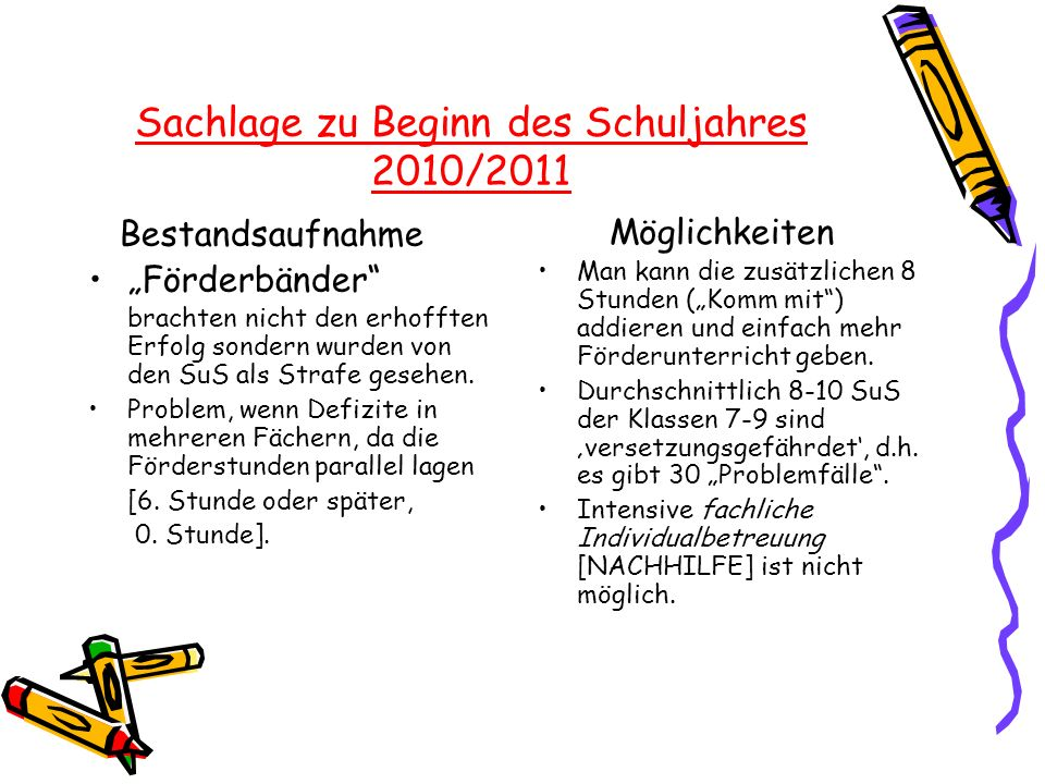 Sachlage zu Beginn des Schuljahres 2010/2011