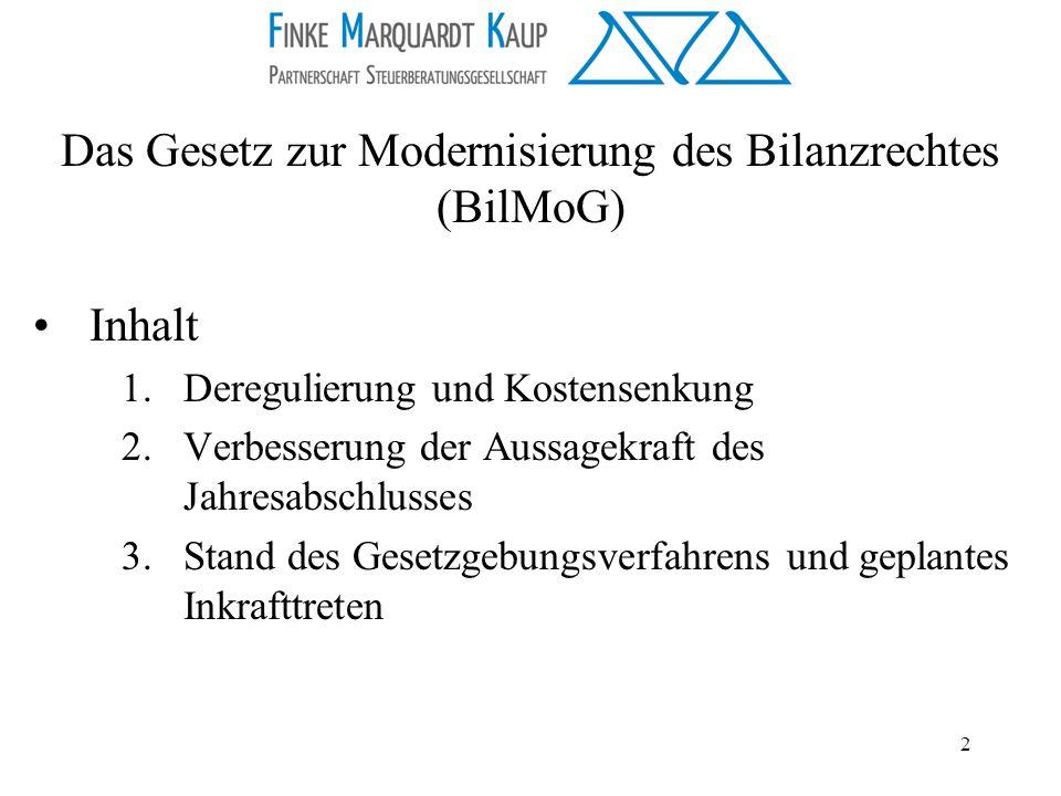 Das Gesetz zur Modernisierung des Bilanzrechtes (BilMoG)