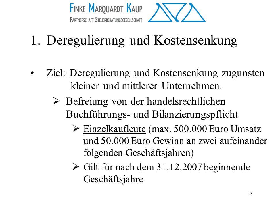 Deregulierung und Kostensenkung