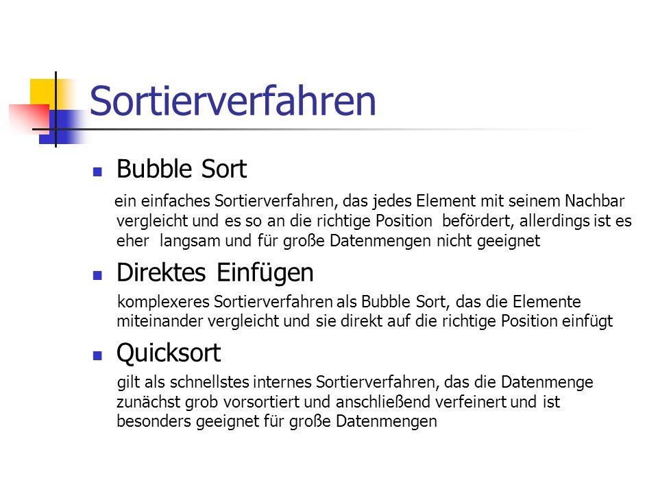 Sortierverfahren Bubble Sort Direktes Einfügen Quicksort