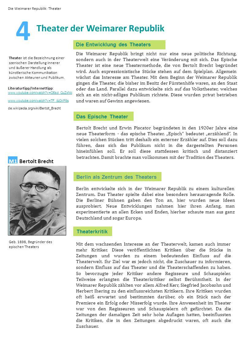 4 Theater der Weimarer Republik Bild M1 Bertolt Brecht