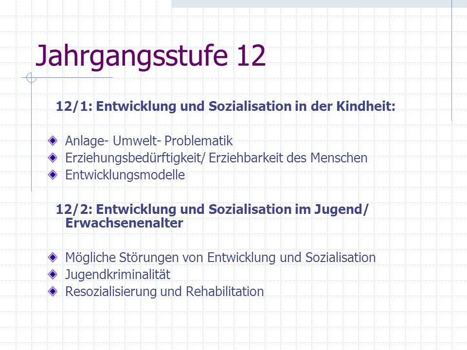 Jahrgangsstufe 12 12/1: Entwicklung und Sozialisation in der Kindheit: