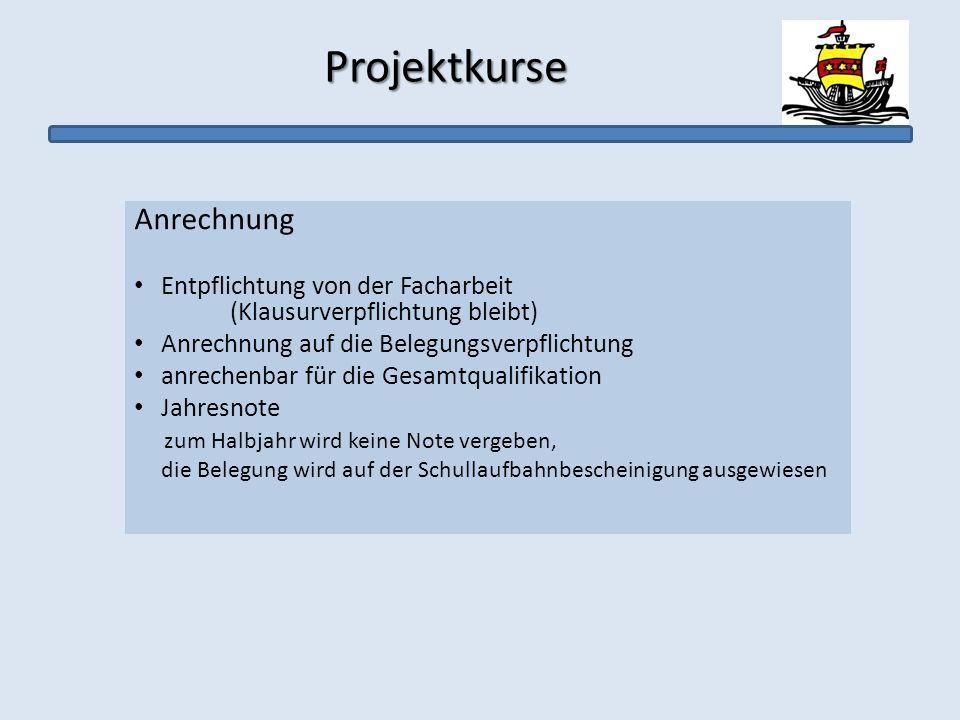 Projektkurse Anrechnung