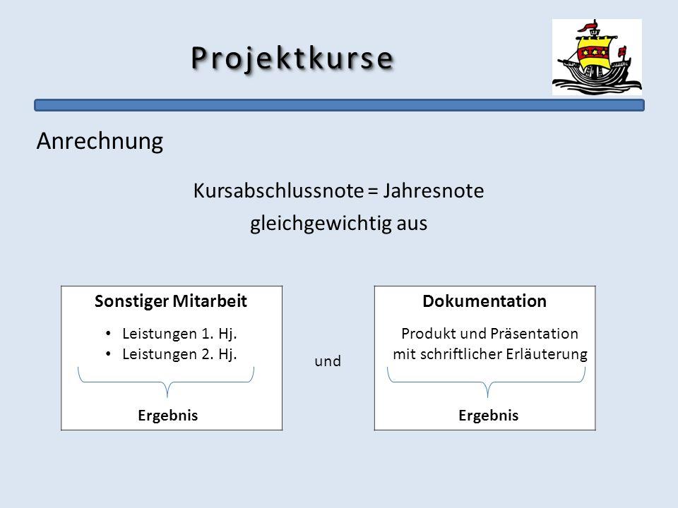 Projektkurse Anrechnung Kursabschlussnote = Jahresnote