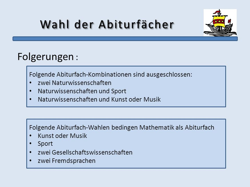 Wahl der Abiturfächer Folgerungen :