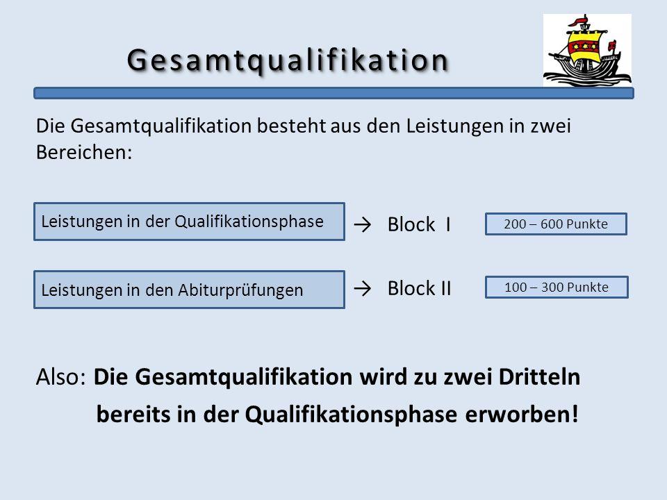 Gesamtqualifikation Die Gesamtqualifikation besteht aus den Leistungen in zwei Bereichen: → Block I.