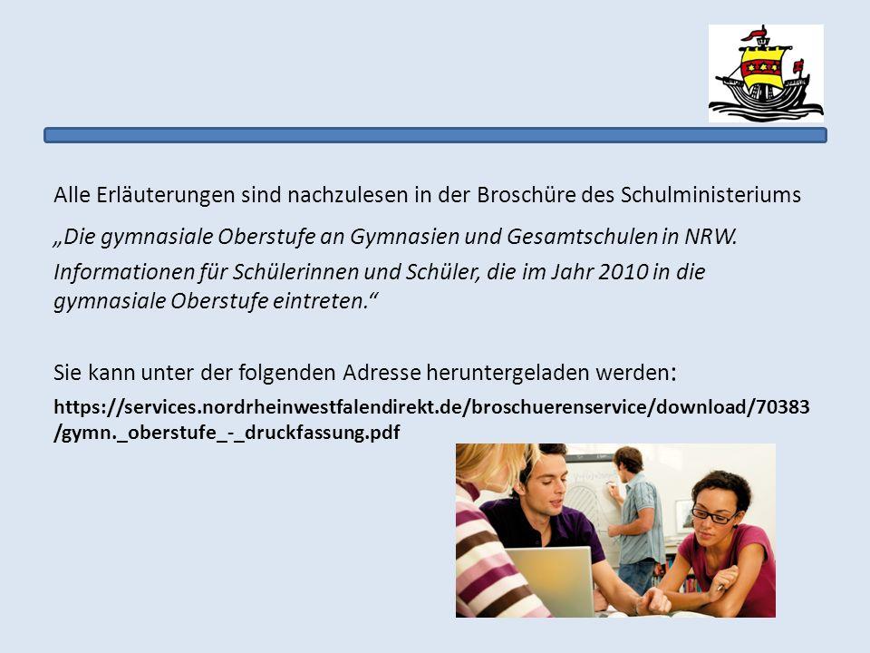 """""""Die gymnasiale Oberstufe an Gymnasien und Gesamtschulen in NRW."""