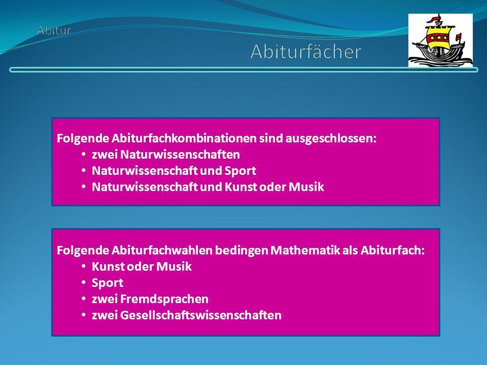Abitur Abiturfächer Folgende Abiturfachkombinationen sind ausgeschlossen: