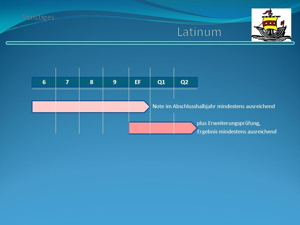 Sonstiges Latinum 6 7 8 9 EF Q1 Q2