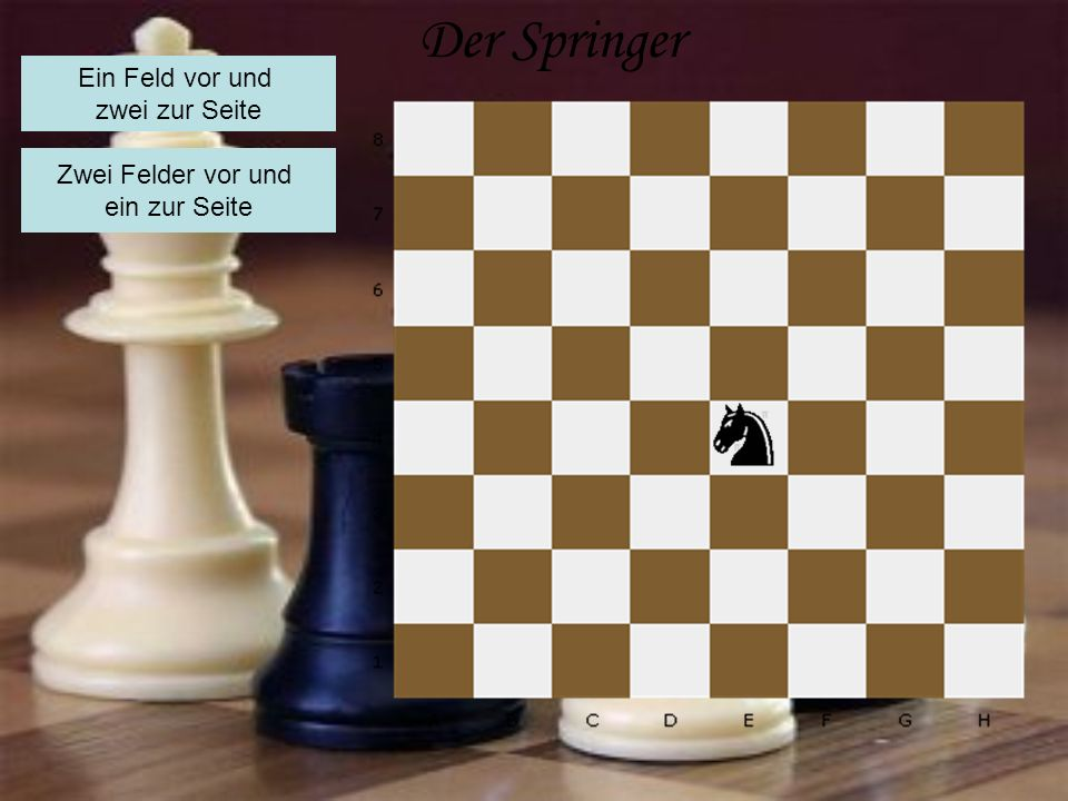 Der Springer Ein Feld vor und zwei zur Seite Zwei Felder vor und