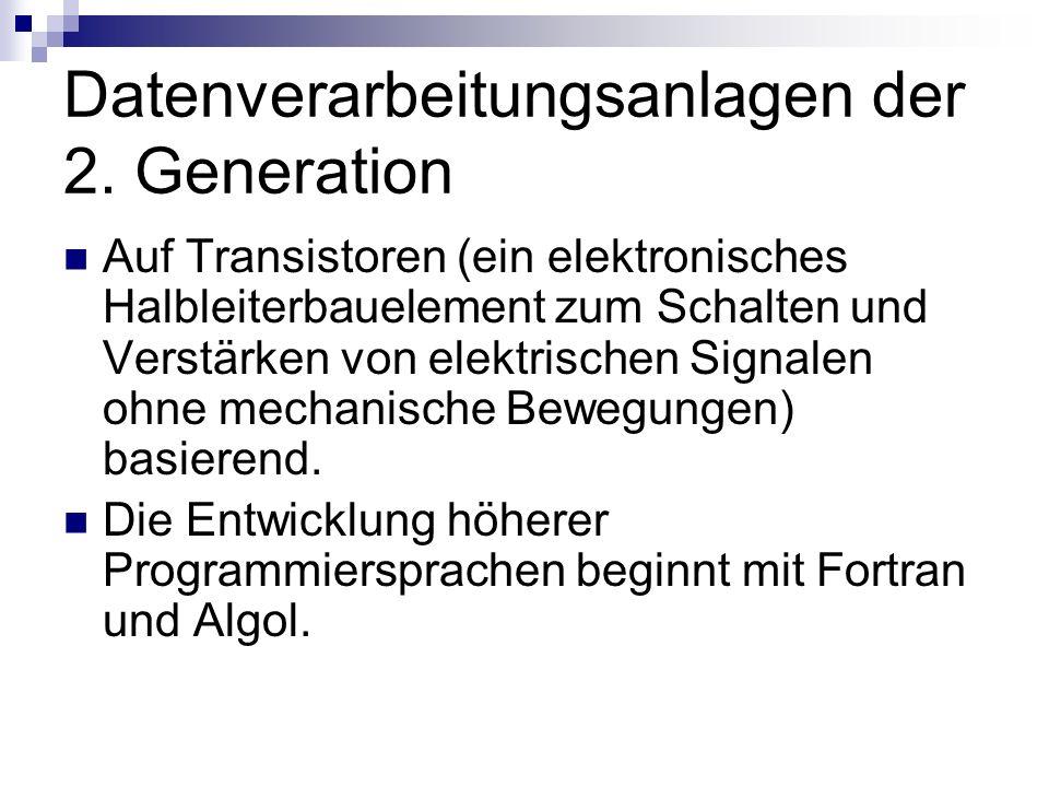 Datenverarbeitungsanlagen der 2. Generation