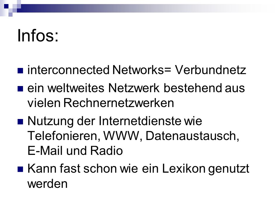 Infos: interconnected Networks= Verbundnetz