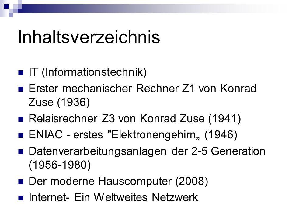 Inhaltsverzeichnis IT (Informationstechnik)