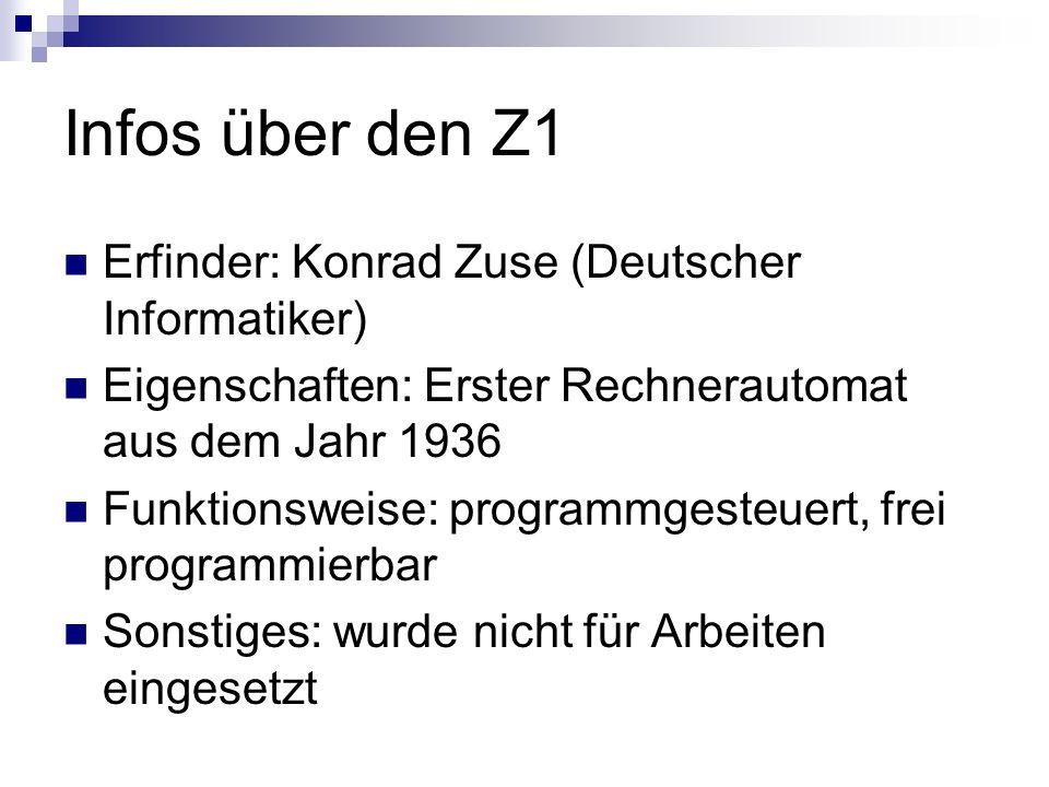 Infos über den Z1 Erfinder: Konrad Zuse (Deutscher Informatiker)