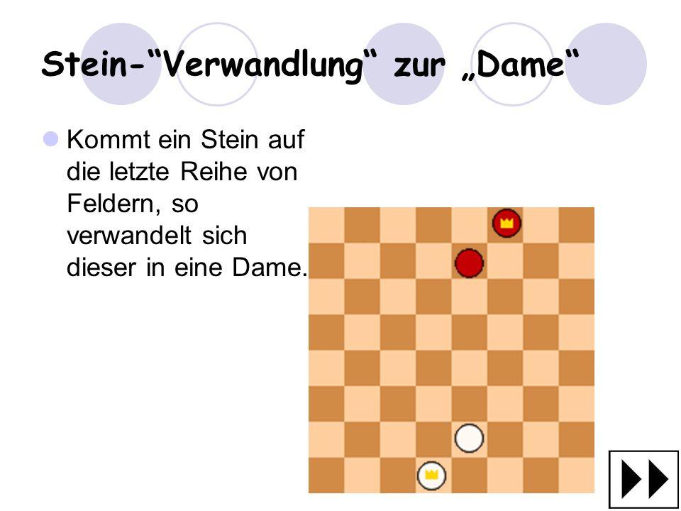 """Stein- Verwandlung zur """"Dame"""