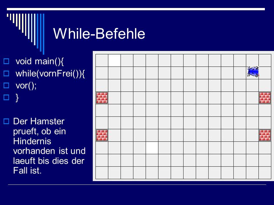 While-Befehle void main(){ while(vornFrei()){ vor(); }