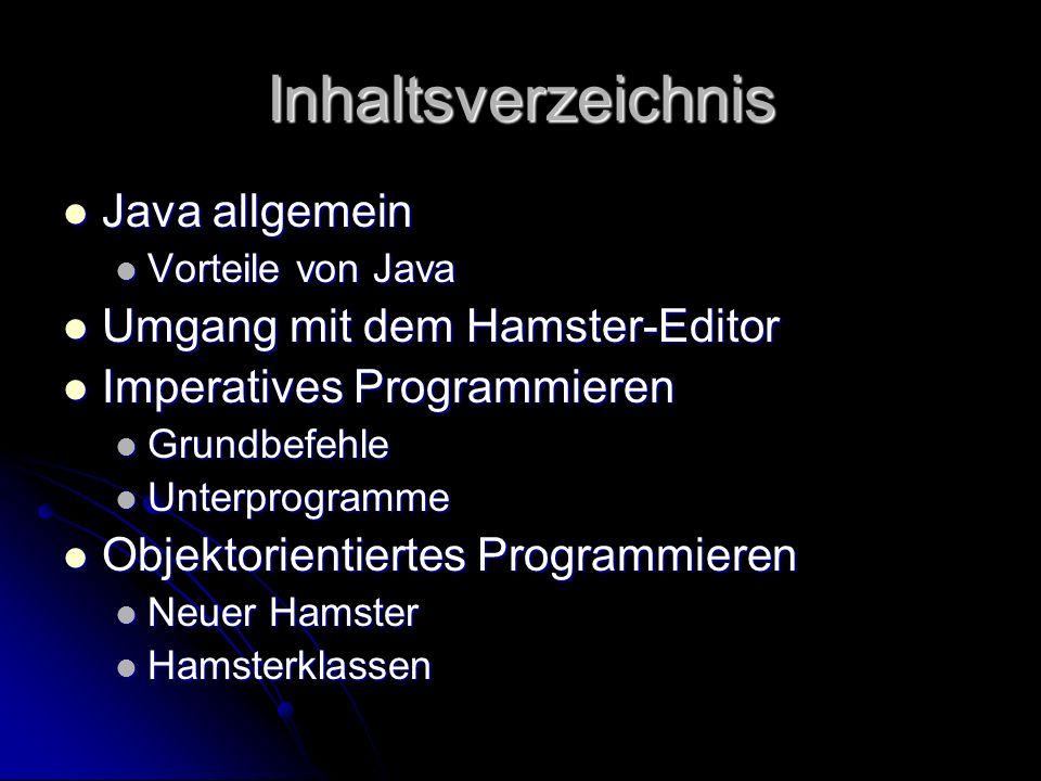 Inhaltsverzeichnis Java allgemein Umgang mit dem Hamster-Editor