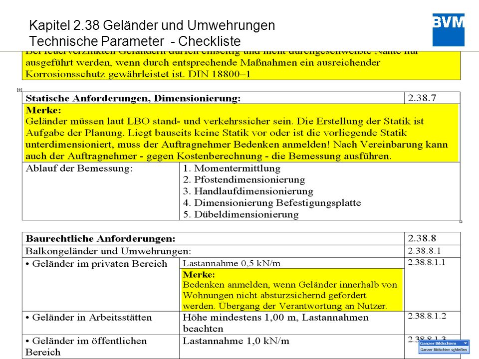 Kapitel 2.38 Geländer und Umwehrungen Technische Parameter - Checkliste