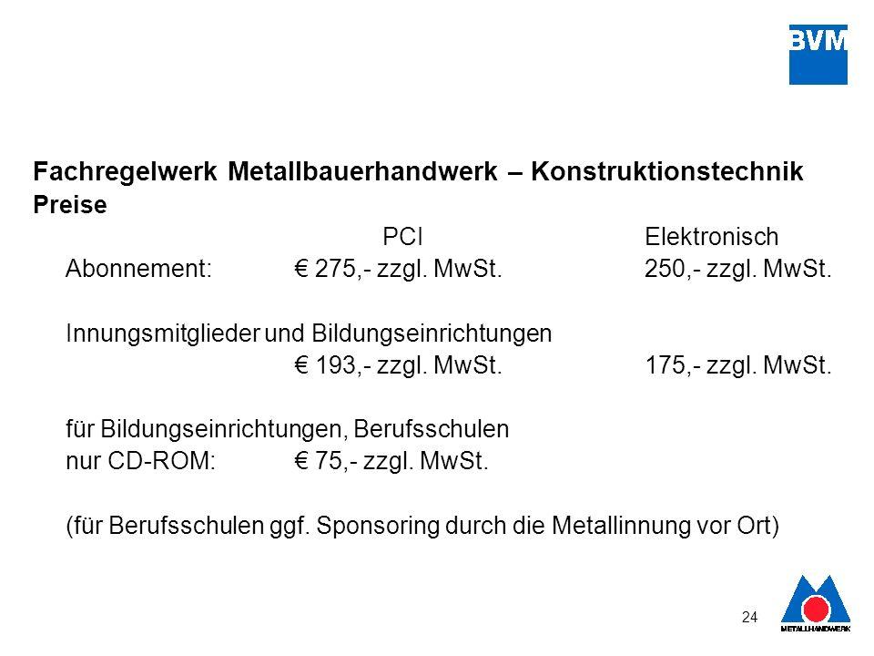 Fachregelwerk Metallbauerhandwerk – Konstruktionstechnik