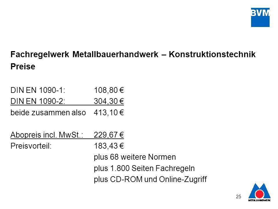 Fachregelwerk Metallbauerhandwerk – Konstruktionstechnik Preise