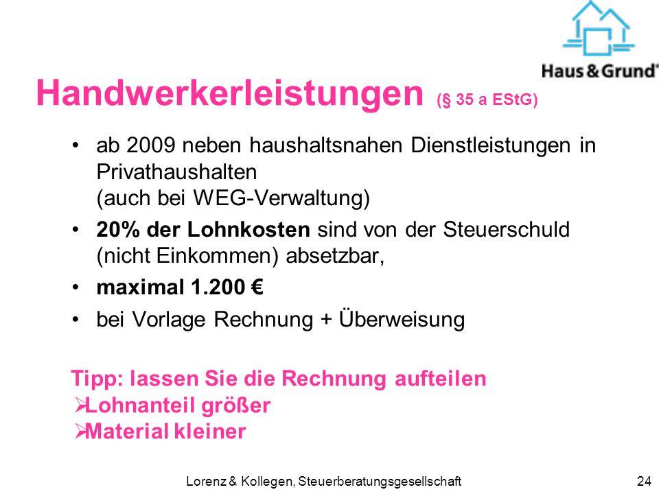 Handwerkerleistungen (§ 35 a EStG)