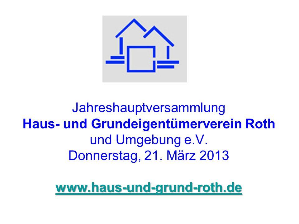 Jahreshauptversammlung Haus- und Grundeigentümerverein Roth und Umgebung e.V.