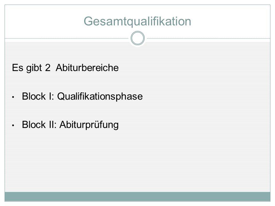 Gesamtqualifikation Es gibt 2 Abiturbereiche
